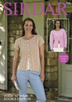 Sirdar Wash 'n Wear Double Crepe - 7942 Cardigans Knitting Pattern